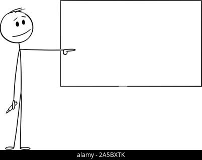 Vector cartoon stick figure drawing conceptual illustration of man or businessman or teacher with marker in hand pointing at empty whiteboard. - Stock Photo