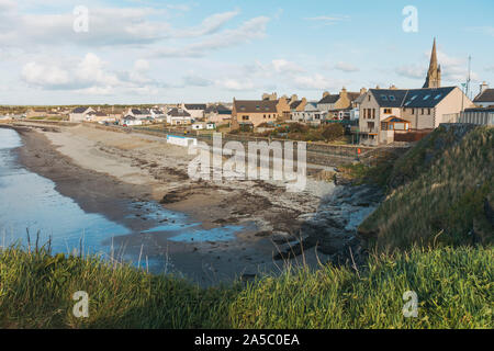 A lovely view over the peaceful Thurso township, seen from its coastline. Thurso is the most northerly UK mainland town. - Stock Photo