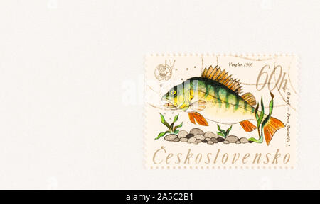 European Perch with rocks and water plants on Czechoslovakian Postage stamp issued in 1966. Scott # 1381. - Stock Photo