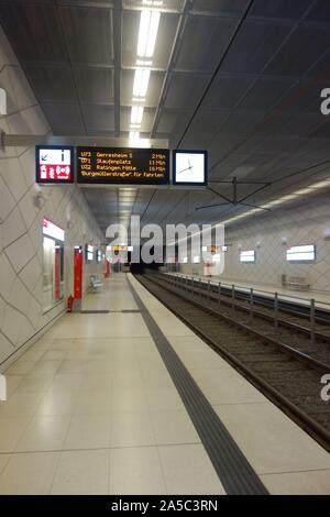 An underground metro station in Dusseldorf, Germany. The platform empty. - Stock Photo