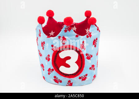 handmade happy birthday cloth crown isolated on white background - Stock Photo
