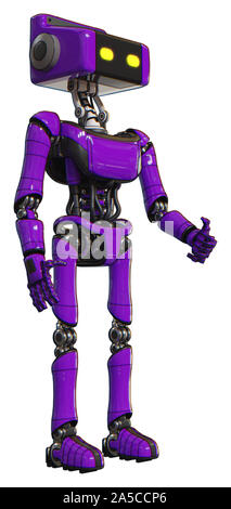 Robot containing elements: dual retro camera head, retro tech device head, light chest exoshielding, ultralight chest exosuit, ultralight foot exosuit - Stock Photo