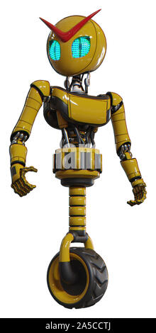 Automaton containing elements: grey alien style head, blue grate eyes, light chest exoshielding, ultralight chest exosuit, unicycle wheel. Material: Y - Stock Photo