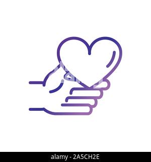 hand holding heart love charity help donation gradient line vector illustration - Stock Photo