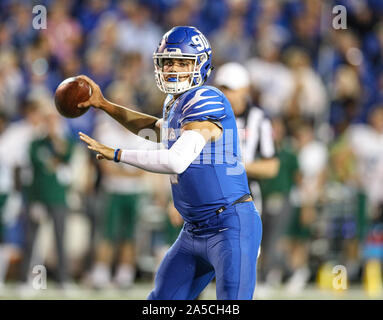 Memphis, TN, USA. 19th Oct, 2019. Memphis quarterback Brady White #3 gets ready to throw the ball during the NCAA football game between the Memphis Tigers and the Tulane Green Wave at Liberty Bowl Stadium in Memphis, TN. Kyle Okita/CSM/Alamy Live News - Stock Photo