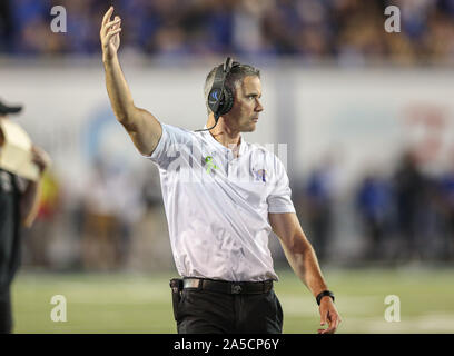 Memphis, TN, USA. 19th Oct, 2019. Memphis head coach Mike Norvell signals for the fans to make noise during the NCAA football game between the Memphis Tigers and the Tulane Green Wave at Liberty Bowl Stadium in Memphis, TN. Kyle Okita/CSM/Alamy Live News - Stock Photo