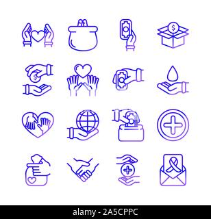 charity help donation icons set gradient line vector illustration - Stock Photo