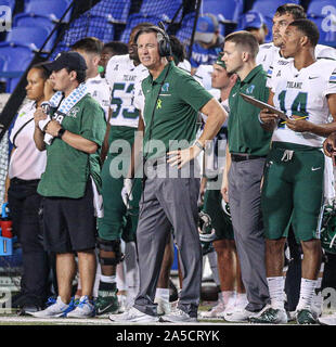 Memphis, TN, USA. 19th Oct, 2019. Tulane head coach Willie Fritz grimmaces during the NCAA football game between the Memphis Tigers and the Tulane Green Wave at Liberty Bowl Stadium in Memphis, TN. Kyle Okita/CSM/Alamy Live News - Stock Photo