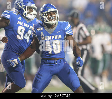 Memphis, TN, USA. 19th Oct, 2019. Memphis' Thomas Pickens #40 celebrates his interception during the NCAA football game between the Memphis Tigers and the Tulane Green Wave at Liberty Bowl Stadium in Memphis, TN. Kyle Okita/CSM/Alamy Live News - Stock Photo
