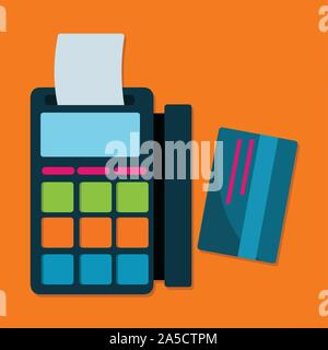 Electronic Data Capture machine with card vector illustration - Stock Photo