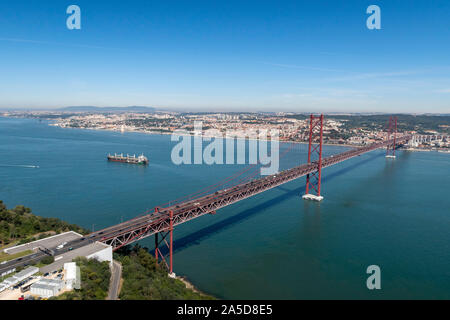 Aerial view of the 25 de Abril bridge over the river Tejo between Almada and Lisbon, Portugal, Europe