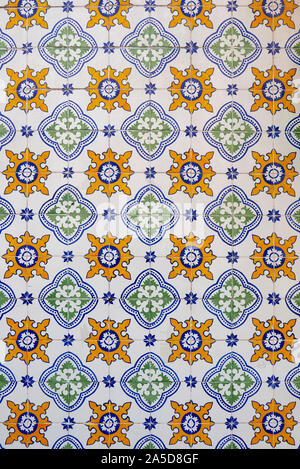Traditional portuguese azulejos painted tiles - Stock Photo