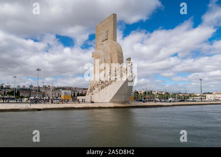 The Padrão dos Descobrimentos as viewed from the water on the Tagus river, Belém, Lisbon, Portugal - Stock Photo
