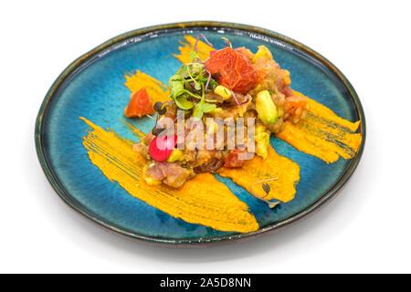 Gourmet salmon tartare - Stock Photo
