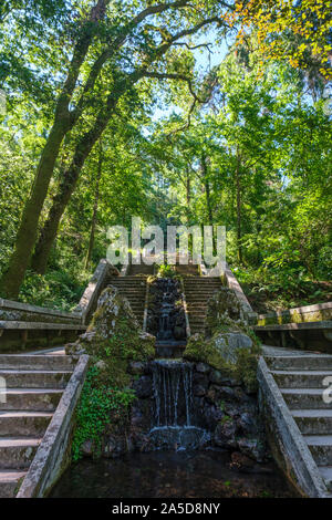 Stairs and man-made waterfall at the Mata do Bussaco park woods in Luso, Portugal, Europe - Stock Photo