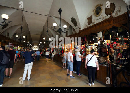 Cracow. Krakow. Poland. Cloth Hall (Draper`s Hall, Sukiennice) the 13th century building in the middle of the Main Market Place. - Stock Photo