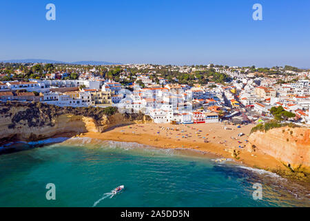 Aerial from the traditional village Carvoeiro in the Algarve Portugal - Stock Photo