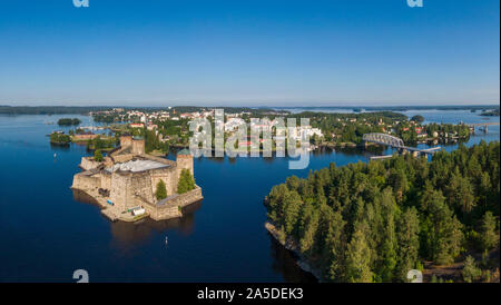 Aerial view of Olavinlinna castle and Savonlinna town in Finland - Stock Photo