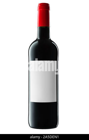 Wine bottle with label and red wine isolated on white background - Stock Photo