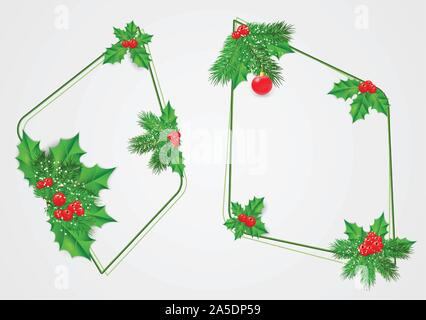 Vector set abstract frames of fir branches, holly with leaves and red berries. Christmas party decor . - Stock Photo