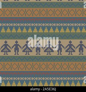 Norwegian traditional ornament. Seamless pattern with anthropomorphic ornament. Knitting Pattern. Vector. - Stock Photo