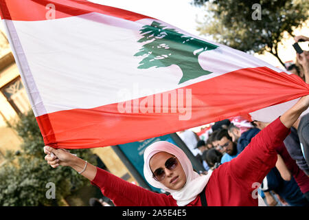 Anti-government protester, Downtown, Beirut, Lebanon. 19 October 2019