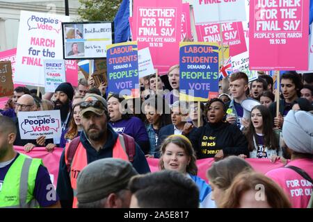 The People's Vote anti-Brexit march in central London on the day Parliament met for their Saturday sitting on 19th October 2019, - Stock Photo