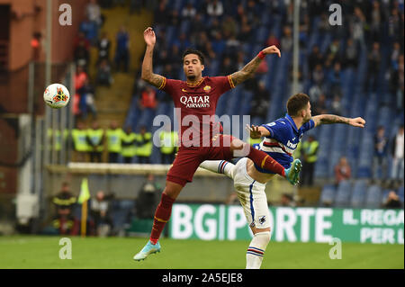 Genova, Italy, 20 Oct 2019, Justin Kluivert (Roma), Nicola Murru (Sampdoria) during Sampdoria vs AS Roma - Italian Soccer Serie A Men Championship - Credit: LPS/Danilo Vigo/Alamy Live News - Stock Photo