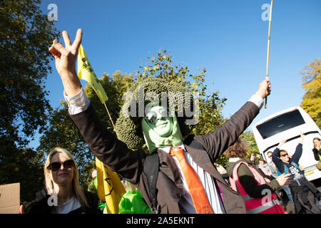 Mr Broccoli or Roland Everson seen on Park Lane, London during a protest march by the Animal Rebellion Movement, an offshoot of Extinction Rebellion. Stock Photo