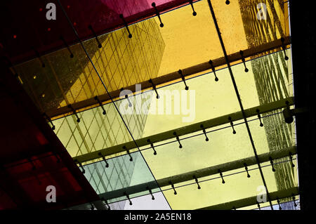 Abstract effect. Wet canopy over walkway. Victoria Street, Victoria, London. UK - Stock Photo