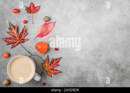Fall or autumn composition. Coffee cup, autumn leaves, flowers, berries, nuts on concrete background. Autumn, fall, thanksgiving day concept. Flat lay - Stock Photo