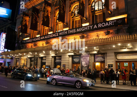 October 14, 2019 - New York, USA - Exterior of the Lunt-Fontanne Theater showing Tina the musical on W 46th street - Stock Photo