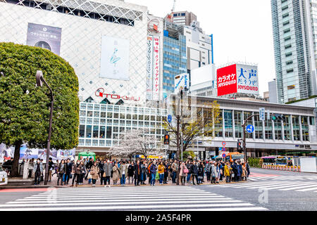 Tokyo, Japan - March 28, 2019: Famous Shibuya crossing crosswalk in downtown city with group of many people waiting for light to cross during day - Stock Photo