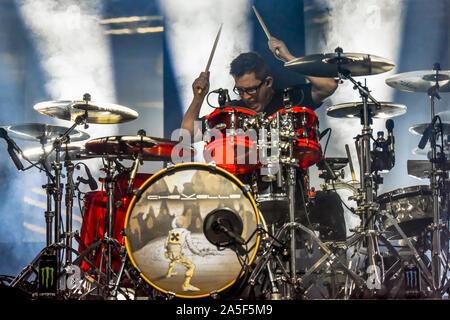Las Vegas, Nevada, USA. October 19, 2019. Chevelle performing in concert at the third annual Las Rageous heavy metal music festival held at the Downtown Las Vegas Events Center. Photo Credit: Ken Howard Images Credit: Ken Howard/Alamy Live News - Stock Photo