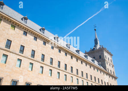 Facade of the Royal Monastery. San Lorenzo del Escorial, Madrid province, Spain. - Stock Photo