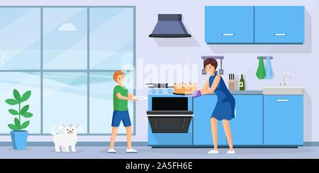People baking cake flat vector illustration. Smiling woman and little kid in kitchen together cartoon characters. Mom taking fresh homemade pastry from oven, mother and son cooking dessert - Stock Photo
