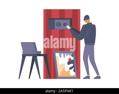 Criminal opening safe flat vector illustration. Thief, outlaw in mask cartoon character. Disguised burglar lock picking safebox, robber stealing money, crime scene, larceny design element - Stock Photo