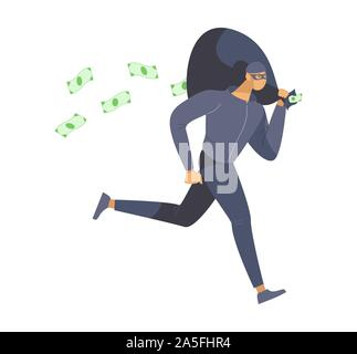 Thief stealing money flat vector illustration. Bank robber, burglar in mask escaping crime scene cartoon character. Dangerous lawbreaker, criminal holding cash bag isolated on white background - Stock Photo
