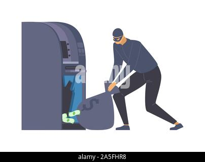 ATM robbery, larceny flat vector illustration. Dangerous burglar with money bag, criminal in disguise cartoon character. Robber in mask, thief stealing cash, law violation, crime scene design element - Stock Photo