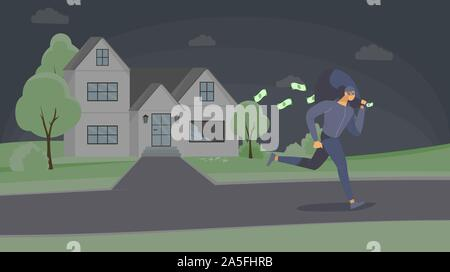 Robber stealing cash flat vector illustration. Dangerous criminal in mask escaping with money bag cartoon character. Thief running away after robbery, burglar in disguise leaving crime scene - Stock Photo