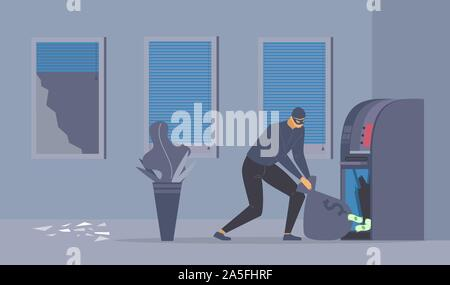 Bank robbery attempt flat vector illustration. Dangerous robber with money bag, criminal in mask cartoon character. Disguised thief stealing cash from ATM, law violation, night burglary - Stock Photo
