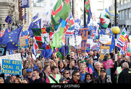 London, UK. 19th Oct 2019. Hundreds of thousands of people demonstrate en route to Parliament in a 'People's Vote - Final Say' march. The House of Commons is sitting, for the first time in 37 yards, on a Saturday to discuss the new Brexit deal. People's vote march, London, UK on October 19, 2019. Credit: Paul Marriott/Alamy Live News - Stock Photo