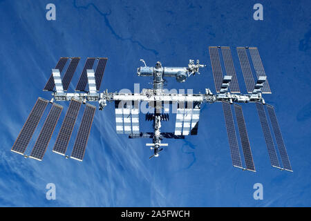 Space station on the background of the earth. In expanded form. Elements of this image were furnished by NASA.