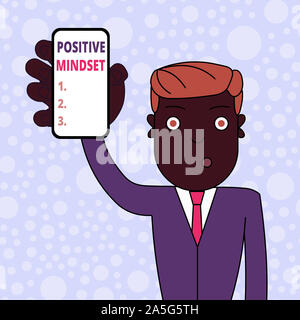 Conceptual hand writing showing Positive Mindset. Concept meaning mental attitude in wich you expect favorable results Man Holding Vertical Smartphone