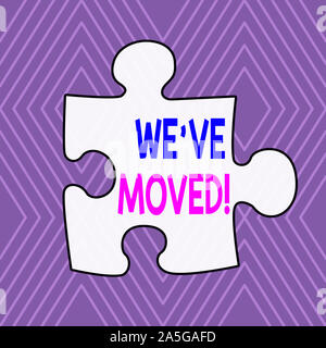 Text sign showing We Ve Moved. Business photo showcasing To go from one residence or location to another Relocate Infinite Geometric Concentric Rhombu - Stock Photo