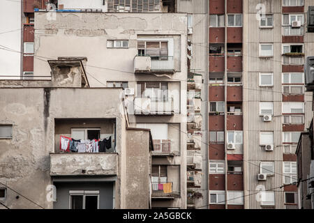 Communist housing buildings, in a decay and diplapidated condition in Belgrade Serbia. This kind of towers are a symbol of Socialist architecture and - Stock Photo