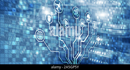 IOT. DIgitalization, Digital disruption background matrix information technology and internet concept