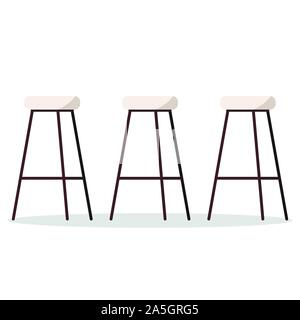 Vector illustration of cozy and comfortable wooden metal high bar or kitchen chairs with padded seat. - Stock Photo