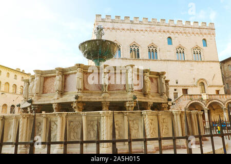Close up of monumental fountain Fontana Maggiore in Piazza IV Novembre main square of Perugia, Umbria, Italy. - Stock Photo
