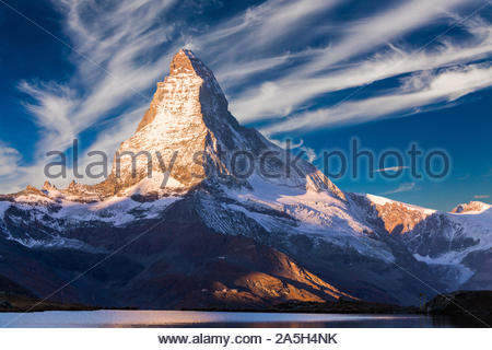 Materhorn peak at sunset in Zermatt, Switzerland. - Stock Photo